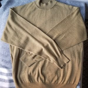 Mustard yellow mock neck wool blend sweater